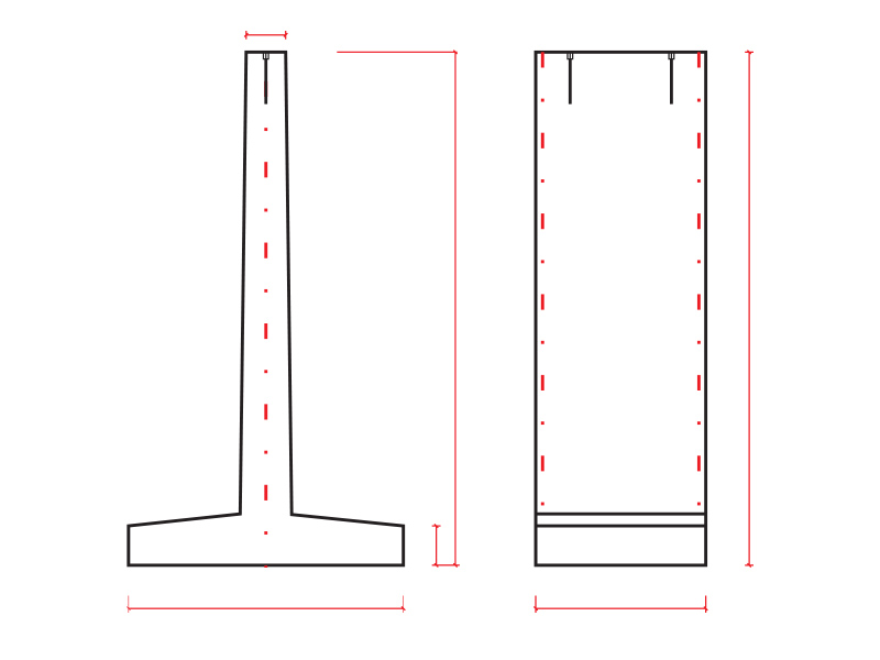 Ściany oporowe typ T - schemat