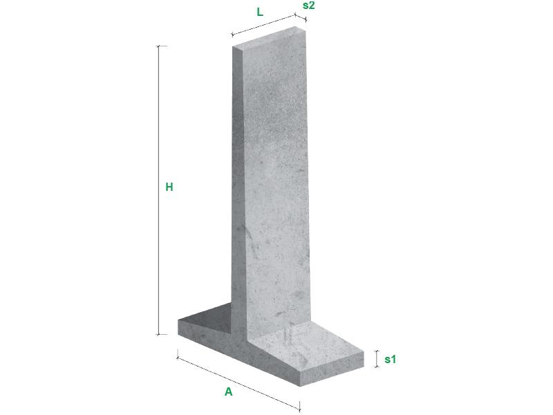 Ściany oporowe typ T - wizualizacja