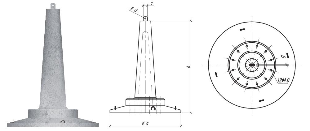 Fundamenty stopowe składane z płytą okrągłą typu SF